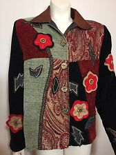 Alex Kim by Alure Small Tapestry Jacket Blazer Applique Embroidery Cool Buttons