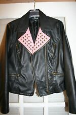 Forever 21 Women's Faux Leather Jacket Junior Size L Large Black Excellent!