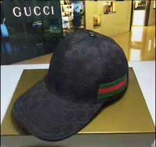 New With Box **Gucci**Baseball Hat Adjustable With Web Black Original GG Canvas