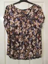 LADIES BROWN/BEIGE FLORAL SOFT TUNIC TOP SIZE 22 BY MARKS AND SPENCER