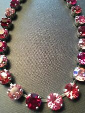 Crystal Necklace Choker �� Rose Indian Pink Fuchsia With Swarovski Crystals