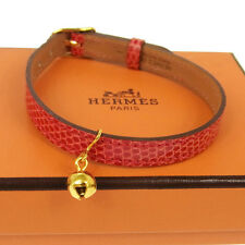 Authentic HERMES Vintage Bell Cat Collars Red Lizard Leather France V05303