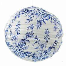 LARGE FABRIC LIGHT/LAMP SHADE FLORAL ROUND CEILING GLOBE BEDROOM BLUE VINTAGE