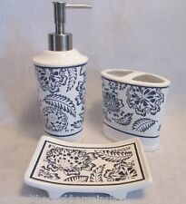 3 Piece Westbrook Blue & White Bathroom Accessory Set