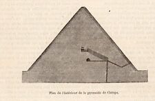 PYRAMIDE KHEOPS PLAN DE L INTERIEUR IMAGE 1880 PYRAMID EGYPT OLD PRINT