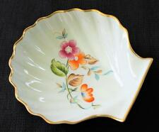 Signed ROCHARD LIMOGES Bone China France Gold Trim FLORAL Seashell Shape Dish