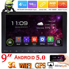 "Android 5.0 Quad Core 3G WIFI 9"" 2Din Car Radio Stereo MP5 Player GPS Navigation"