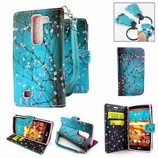 Teal PU Leather Wallet Pouch Credit Card Case Flip Cover for LG G4 Mini Volt 2