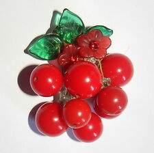 ARTIST Made CHERRY PIN BROOCH Glass Leaves & Red LUCITE Dangles Rhinestone Centr