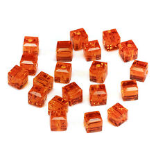 20pcs orange 6mm Faceted Square Cube Cut glass crystal Loose Spacer beads