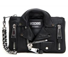 $1395 AW15 Moschino Couture Jeremy Scott Silver / Black Biker Jacket Clutch Bag