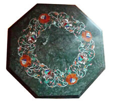 "12"" Green Marble Coffee Table Top Semi Precious Stone Inlay Art Patio Deco H2051"