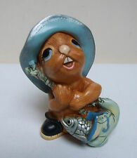 "PENDELFIN RABBIT FIGURE FIGURINE WHOPPER 4.5"" COLLECTABLE FISHING"