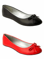 NEW WOMENS BOW FLAT DOLLY BALLET PUMPS BALLERINA SHOES LADIES UK SIZE 3-8