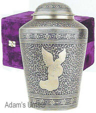 Adult Angel Theme Brass Funeral Cremation Urn with Velvet Box, 218 Cubic Inches