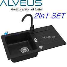 ALVEUS NIAGARA 30 BLACK GRANITE 1.0 BOWL KITCHEN SINK DRAINER WITH TAP & WASTE