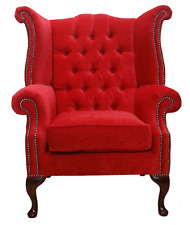 Chesterfield Armchair Queen Anne High Back Wing Chair Pimlico Rouge Red