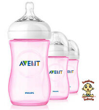 Avent Natural Bottle or Nurser, 9 oz (260 ml), Pink, 3 pack