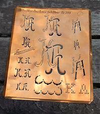 """Monogramm """" KA """" Wäschemonogramm Wäscheschablone Wäschezeichen 11/13 cm KUPFER"""