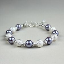 Silver stardust lilac mauve purple pearl beaded bracelet wedding bridesmaid gift