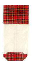 50 x TARTAN Christmas Gift Bag Block Bottom Clear Cello Sweet Treat Candy Bag