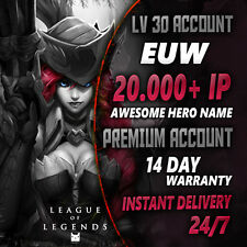 league of legends EUW SMURF Account 20000+ IP Level 30 Unranked Lol Account