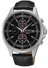 SCNP SNDE29P1 Seiko Gents Chronograph Date Display Leather Strap Watch