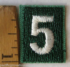 Girl Scout GREEN UNIFORM PATCH -NUMBER FIVE #5 Troop Numeral Junior Cadette NEW