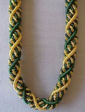 """Braided, Bullion, Woven, Rope Necklace. 18"""" Green & Gold. Artisan Handcrafted"""