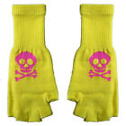 New Gothic Goth Punk Rock 80s Japan Hot Pink Skull Yellow Fingerless Knit Gloves
