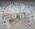 New Paper Money 100pcs World Banknotes UNC from 50 countries with Flags