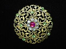 """JJ"" Jonette Jewelry Antique Gold Pewter 'Art Nouveau Floral Jeweled' Pin"