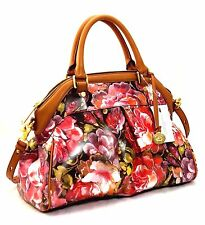 Brahmin Louise Rose Floral Bag Satchel Pink Hemingway LEATHER SATCHEL HANDBAG