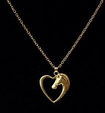 18k Gold Plated Heart & Horse Pendant with Necklace Chain UK SELLER