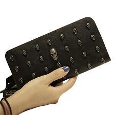 Women PU Leather Wallets Punk Skull Crossbones Pattern Clutch Purses Handbag