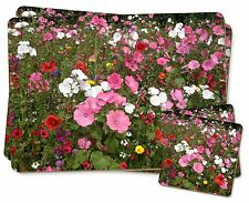 Poppies and Wild Flowers Twin 2x Placemats+2x Coasters Set in Gift Box, FL-10PC