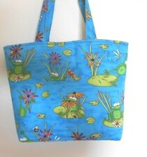 Handmade Frogs Lily Pads Bees Dragon Flies Flowers Tote Purse Bag