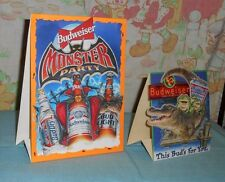 original BUDWEISER Bud Dry Light beer tabletop display table tent lot x2 frogs