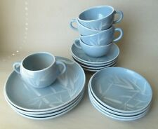 Winfield Ware Blue Pacific 17 Piece Set Dessert and B&B Plates, Cups & Saucers +