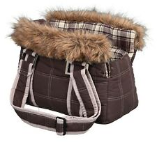 Tasja Pet Carrier For Small Dogs & Cats Brown With Faux Fur Trim