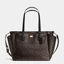 New Coach F35414 Baby Diaper Bag Tote In Signature Canvas Brown Black $495 MSRP