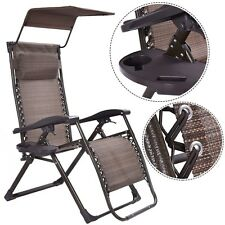 New Outdoor Foldable Zero Gravity Chair Lounge Patio Recliner w/Sunshade+Tray US
