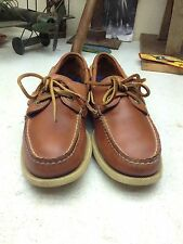DISTRESSED WEST MARINE BROWN LEATHER CANOE BOAT DECK MOCCASIN 7M