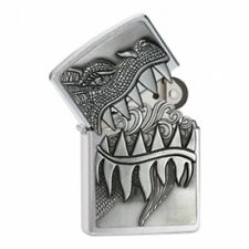 Zippo Surprise Fire Breathing Dragon Brushed Chrome Lighter Brand New