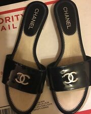 Chanel Authentic Navy Patent Leather Slip On Sandals Size 41