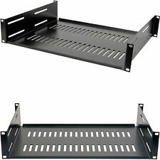 "19"" 2U Vented Equipment Support Shelf-Data Cabinet Rack Module Storage Mount Amp"