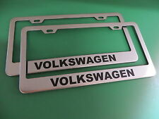 "(2)NEW "" VOLKSWAGEN "" VW Stainless Steel license plate frame +screw caps"