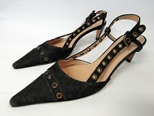 CHANEL DENIM SLINGBACK GROMMETS POINTY SHOES PUMPS  40 10 B KITTEN HEELS