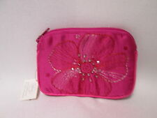 Pink Flower Sparkly Sequin Beaded Ladies Coin Purse Credit Card Wallet #8F10