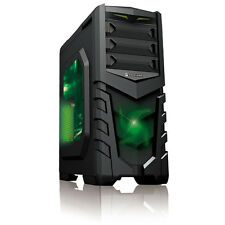 CIT Vanquish Green LED USB3 ATX Gaming Tower PC Case Clear Side Window